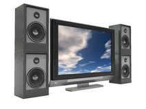 Audio video system. 3d illustration of tv with audio system, over white background Stock Photography