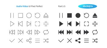 Audio Video UI Pixel Perfect Well-crafted Vector Thin Line And Solid Icons 30 2x Grid for Web Graphics and Apps. Simple Minimal Pictogram Part 1-5 Royalty Free Stock Photo