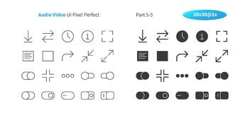 Audio Video UI Pixel Perfect Well-crafted Vector Thin Line And Solid Icons 30 2x Grid for Web Graphics and Apps. Simple Minimal Pictogram Part 5-5 royalty free illustration