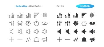 Audio Video UI Pixel Perfect Well-crafted Vector Thin Line And Solid Icons 30 2x Grid for Web Graphics and Apps. Simple Minimal Pictogram Part 2-5 Royalty Free Stock Image