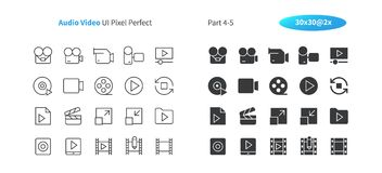 Audio Video UI Pixel Perfect Well-crafted Vector Thin Line And Solid Icons 30 2x Grid for Web Graphics and Apps. Simple Minimal Pictogram Part 4-5 stock illustration