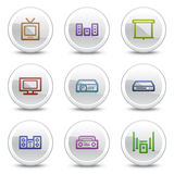 Audio video web colour icons, white circle buttons Royalty Free Stock Images