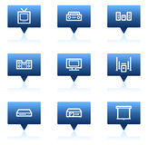 Audio video web icons, blue speech bubbles series Royalty Free Stock Photography