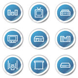 Audio video web icons, blue sticker series Royalty Free Stock Photo
