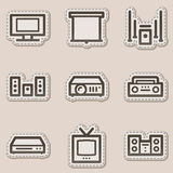 Audio video web icons, brown contour sticker Royalty Free Stock Photo