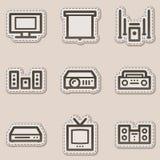 Audio video web icons, brown contour sticker Royalty Free Stock Photo