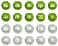 Audio video web icons, circle buttons Stock Photos