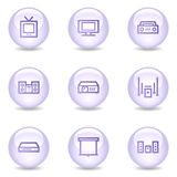 Audio video web icons, glossy pearl series Stock Photography