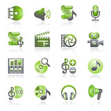Audio video web icons. Gray and green series. Vector icons set for websites, guides, booklets