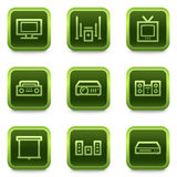 Audio video web icons, green square buttons series Royalty Free Stock Photography
