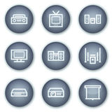 Audio video web icons, mineral circle buttons Stock Photo