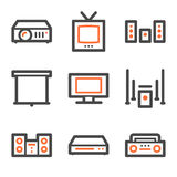 Audio video web icons, orange and gray contour vector illustration