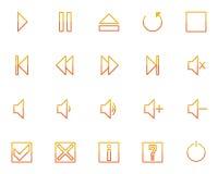 Audio videomedia pictogrammen geplaatst no.2 - sinaasappel Stock Foto's