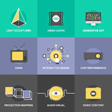 Audio and visual art flat design icons Royalty Free Stock Photo