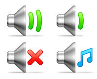 Audio volume icons. Stock Photo