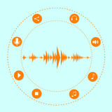 Audio Wave Music Stream Icon With Sound. Microphone Flat Vector Illustration Royalty Free Stock Images