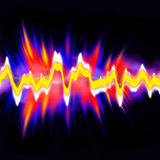 Audio Waveform. Funky neon glowing audio waveform or graphic equalizer with electric plasma Stock Photography