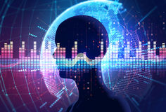 Audio waveform abstract technology background. Colorful Audio waveform on virtual human  background ,represent digital Royalty Free Stock Photo