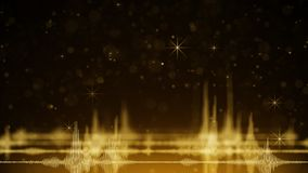 Audio waveform and golden sparkles Stock Photo