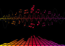 Audio Waves & Music Notes Royalty Free Stock Photo
