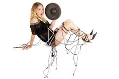 Audio woman Royalty Free Stock Images