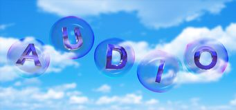 The audio word in bubble. The audio word in soap bubble on blue sky background,3d rendered stock illustration