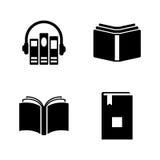 Audioboeken Eenvoudige Verwante Vectorpictogrammen stock illustratie