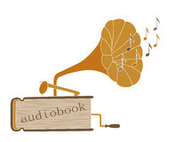 Audiobook. Brown audiobook with gramophone and notes on white background Stock Photography