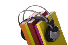Audiobook. Colorful audiobook concept with headphones and books (isolated on white Stock Images