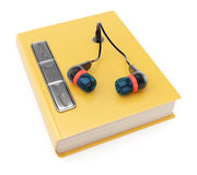 Audiobook. Book with headphones isolated on white backgound. Audiobook concept. 3d rendering image Stock Photos