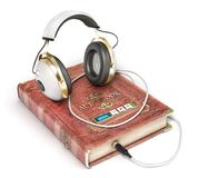 Audiobook concept. Book with headphones  on a white. 3d illustration Stock Photos