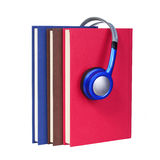 Audiobook concept. Headphones and books isolated Royalty Free Stock Photo