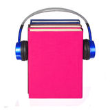 Audiobook concept. Headphones and books isolated Stock Image