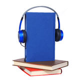 Audiobook concept. Headphones and books. Isolated on white background Royalty Free Stock Photo