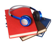 Audiobook concept. Headphones and books isolated Royalty Free Stock Photography