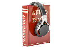 Audiobook concept with headphones, 3D rendering Royalty Free Stock Photo