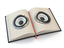 Audiobook or e-learning concept. Open book with loudspeakers stock illustration