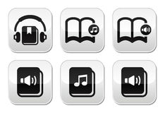 Audiobook guziki ustawiający Obraz Stock