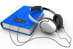 Audiobook with headphones. The book with headphones connected; 3D illustration of the audiobook Stock Image