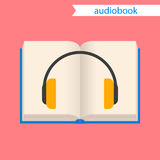 Audiobook,  icon. Audiobook icon.  illustration. A book and headphones. Concept Stock Photo