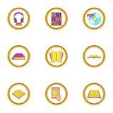 Audiobook icons set, cartoon style Royalty Free Stock Image