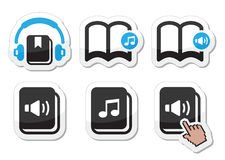 Audiobook  icons set. Listening to audiobooks black black and blue lables set isolated on white Royalty Free Stock Photos