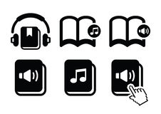 Audiobook  icons set Stock Images