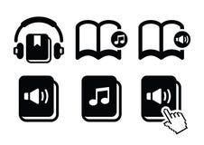 Audiobook  icons set. Listening to audiobooks black icons set isolated on white Stock Images