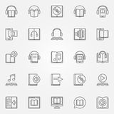 Audiobook icons set. Vector collection of audio book and e-book concept symbols in thin line style Vector Illustration