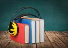 Audiobook Library. Book Audio Equipment Sound Music Headphones e-learning Stock Photo