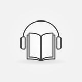 Audiobook vector icon. Headphones with book concept symbol or design element in thin line style Stock Photo