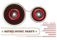 Audiocassette Retro muziekpartij de jaren '80stijl Stock Foto