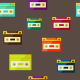 Audiocassette seampless background Royalty Free Stock Image