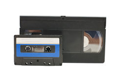 Audiocassette and videocassette Royalty Free Stock Images